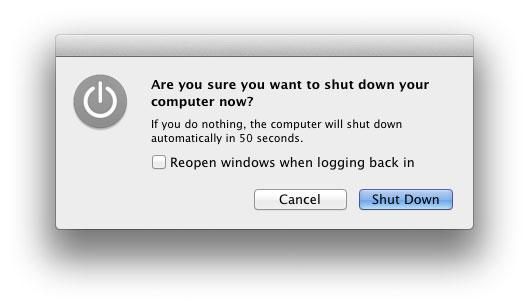 Lion 10.7.4 shutdown dialog box