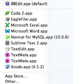 Duplicates in the Mac Open With menu