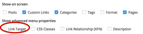 Add target to WordPress menu item