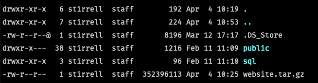 File structure of Local by Flywheel site with archive file.