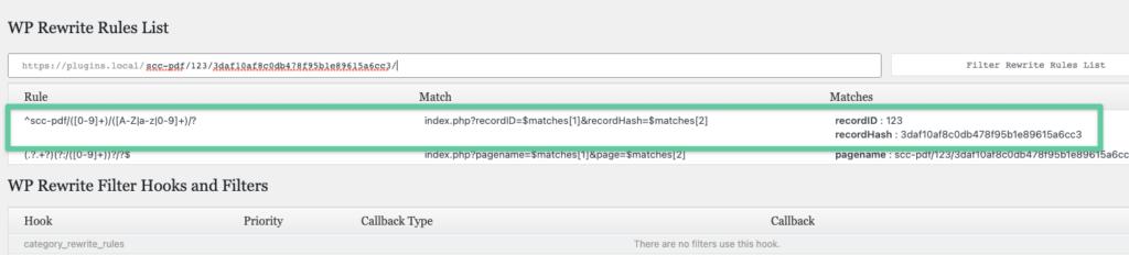 Screenshot of using the Debug Bar Rewrite Rules WordPress plugin to test our rewrite rule.